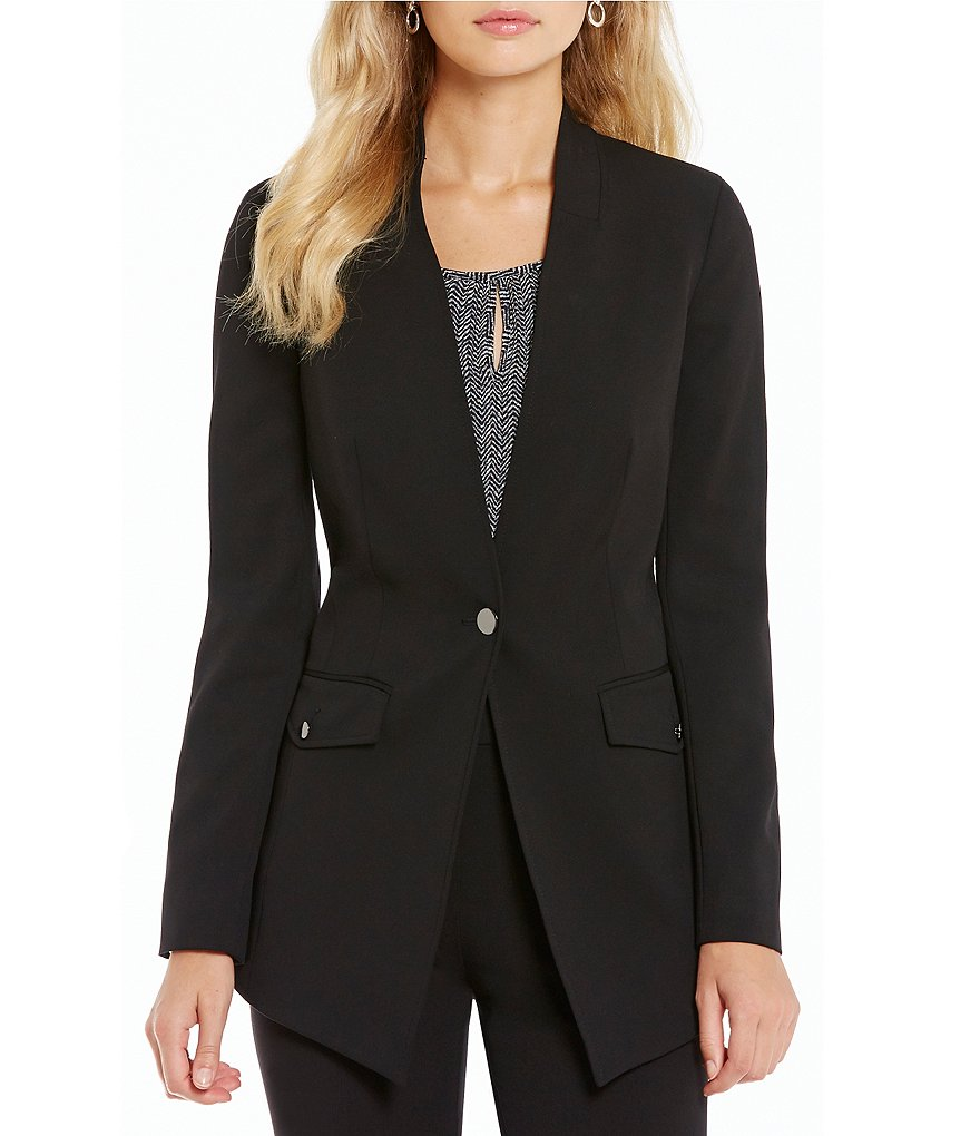 Jones New York Stretch Suiting One-Button V-Neck Blazer