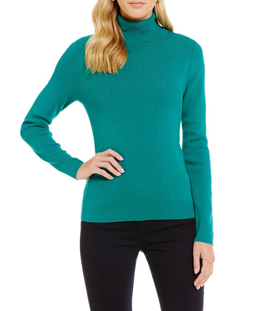 Jones New York Long Sleeve Turtleneck Sweater Knit Top