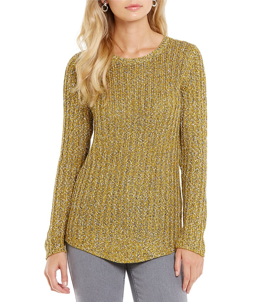 Jones New York Marled Rib Knit Shirttail Sweater