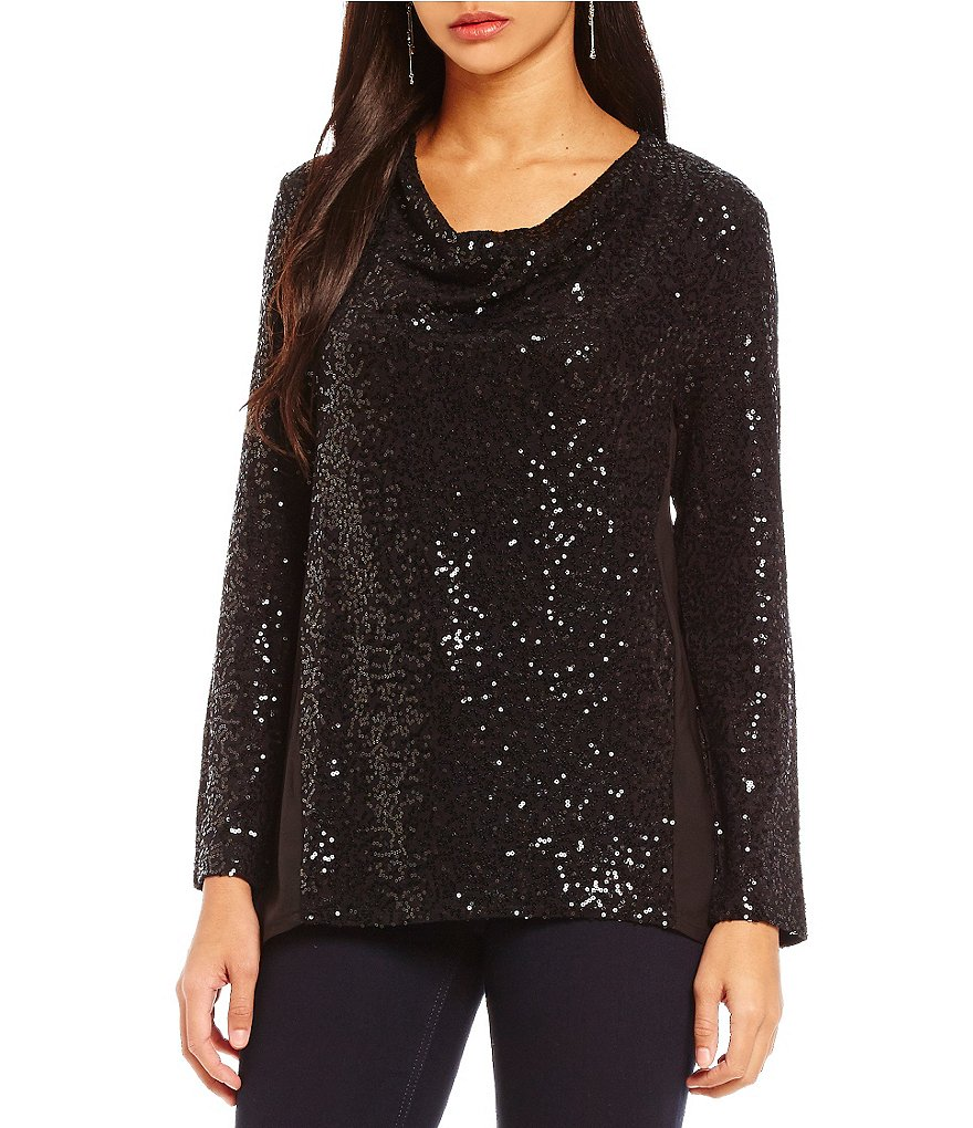 Jones New York Sequined Drapeneck Top