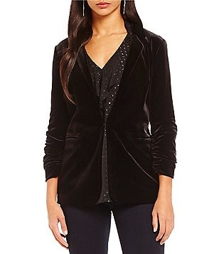 Jones New York Velvet Notch Collar Blazer