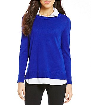 Intro Point Collar Shirttail Hem Long Sleeve Solid Sweater
