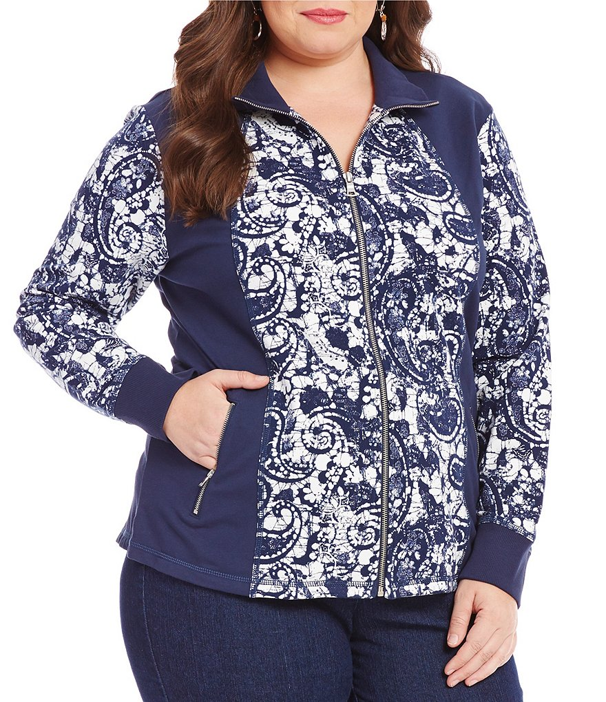 Ruby Rd. Plus Printed Zip Front Stretch French Terry Jacket