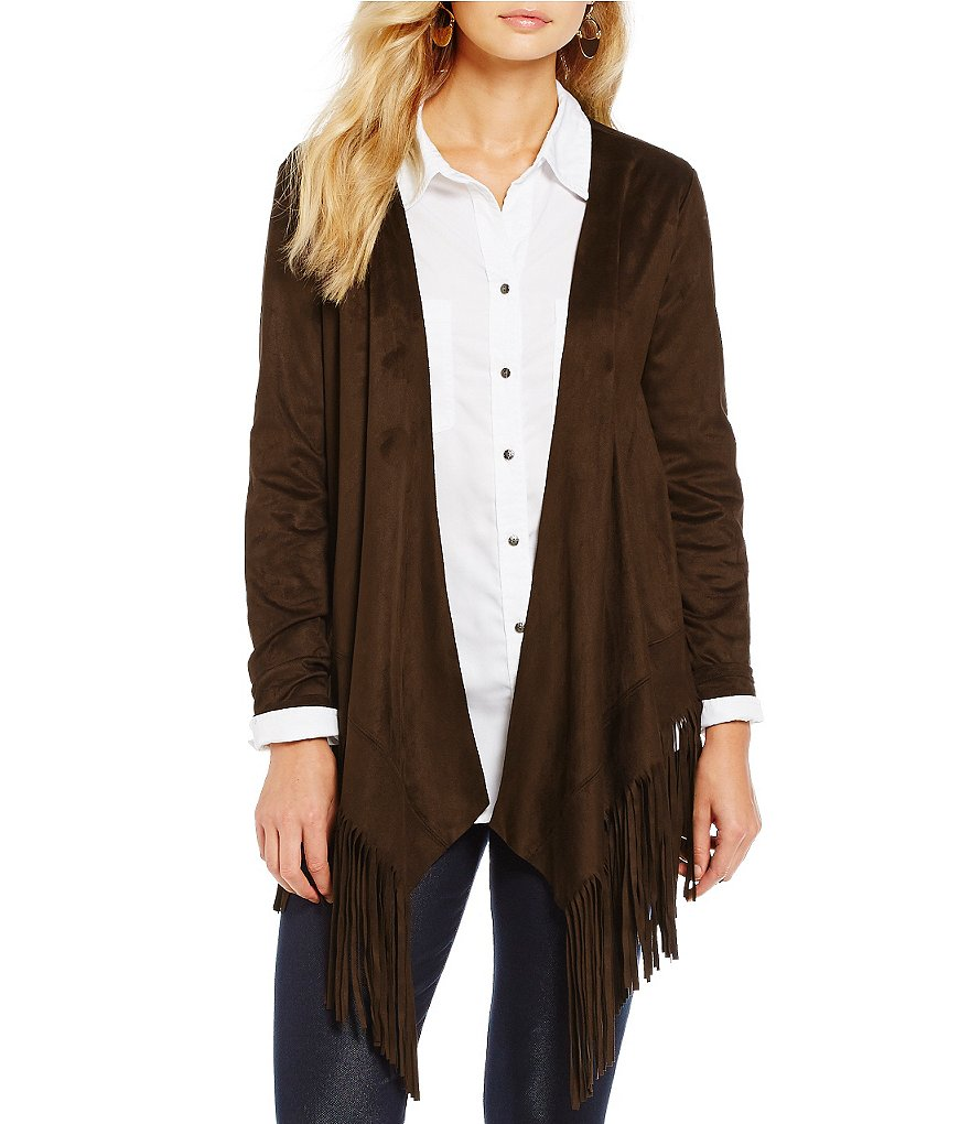 Intro Faux-Suede Open Front Fringe Jacket