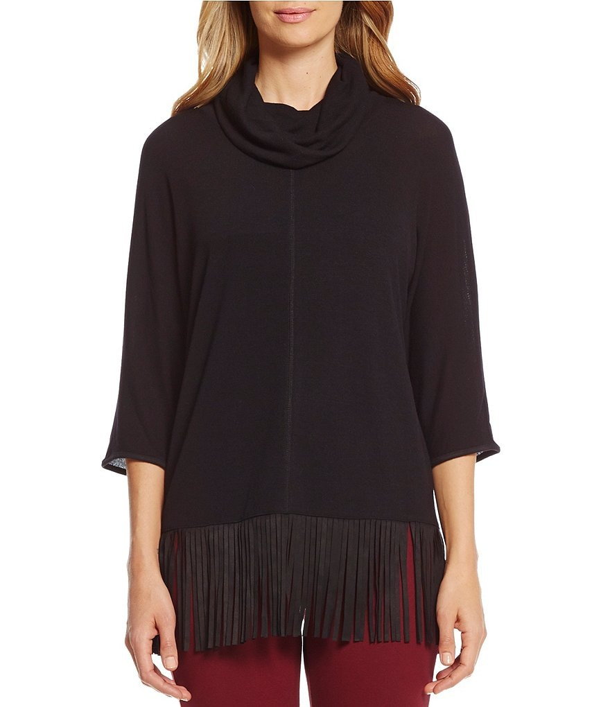 Intro Solid Hacci Cowl Neck with Faux-Suede Fringe Sweater