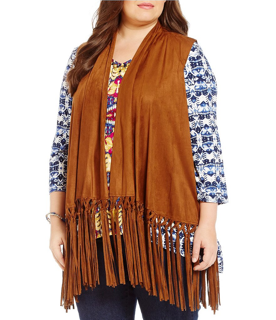 Ruby Rd. Plus Open Front Stretch Suede Fringe Hem Vest
