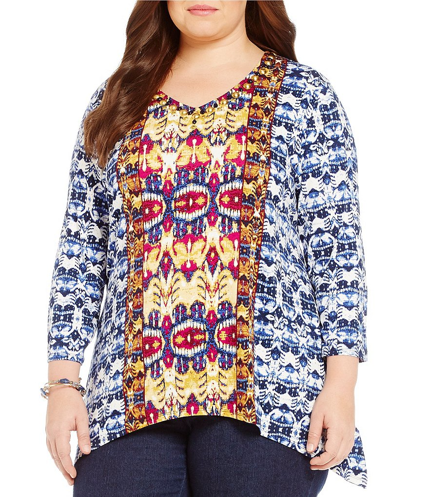 Ruby Rd. Plus Embellished V-Neck Nouveau Ikat Placement Print Knit Top