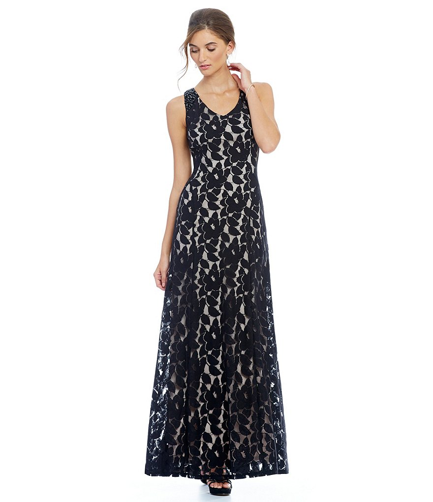 London Times Rose Lace Gown
