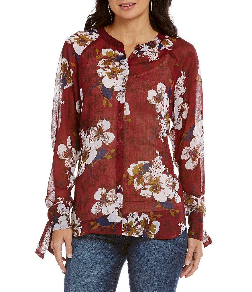 KUT from the Kloth Long Sleeve Floral Print Mandarin Collar Shirt