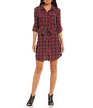 KUT from the Kloth Ella Plaid Print Shirt Dress with Roll-Tab Sleeves