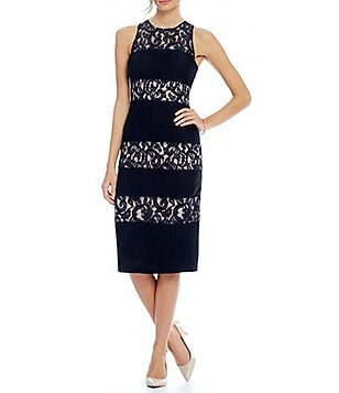 London Times Lace Banded Sheath Midi Dress