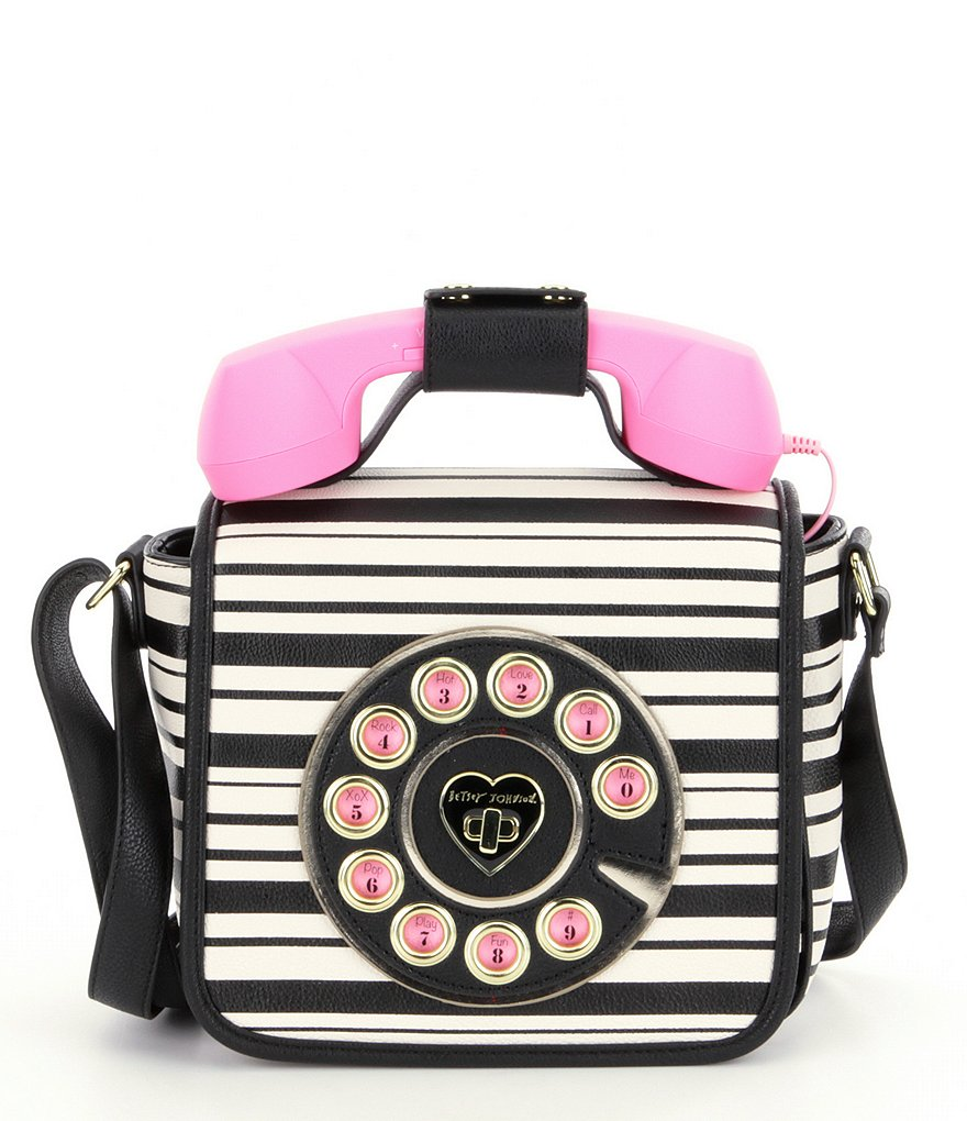 Betsey Johnson Hotline Telephone Striped Top Handle Cross-Body Bag
