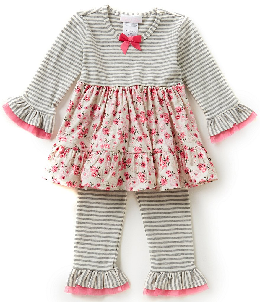 Bonnie Baby Baby Girls 12-24 Months Mixed Print Dress & Striped Leggings Set