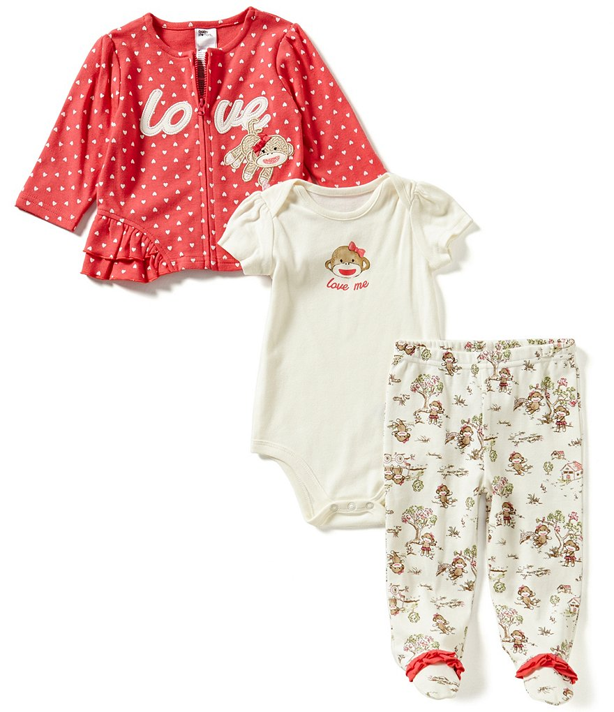 Baby Starters Baby Girls 3-9 Months Heart-Print Jacket, Solid Bodysuit & Printed Footed Pants Set