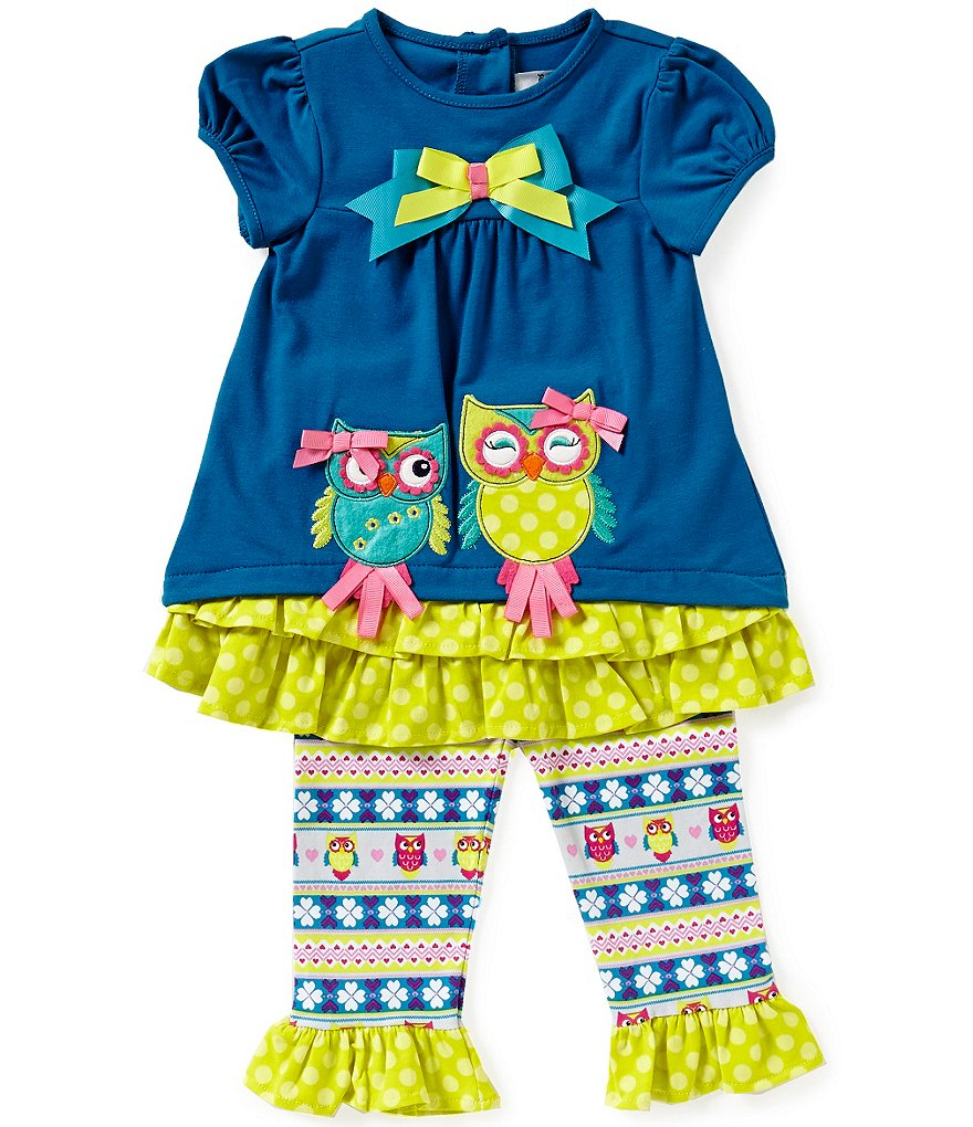 Rare Editions Baby Girls 12-24 Months Owl Appliqued Top & Leggings Set