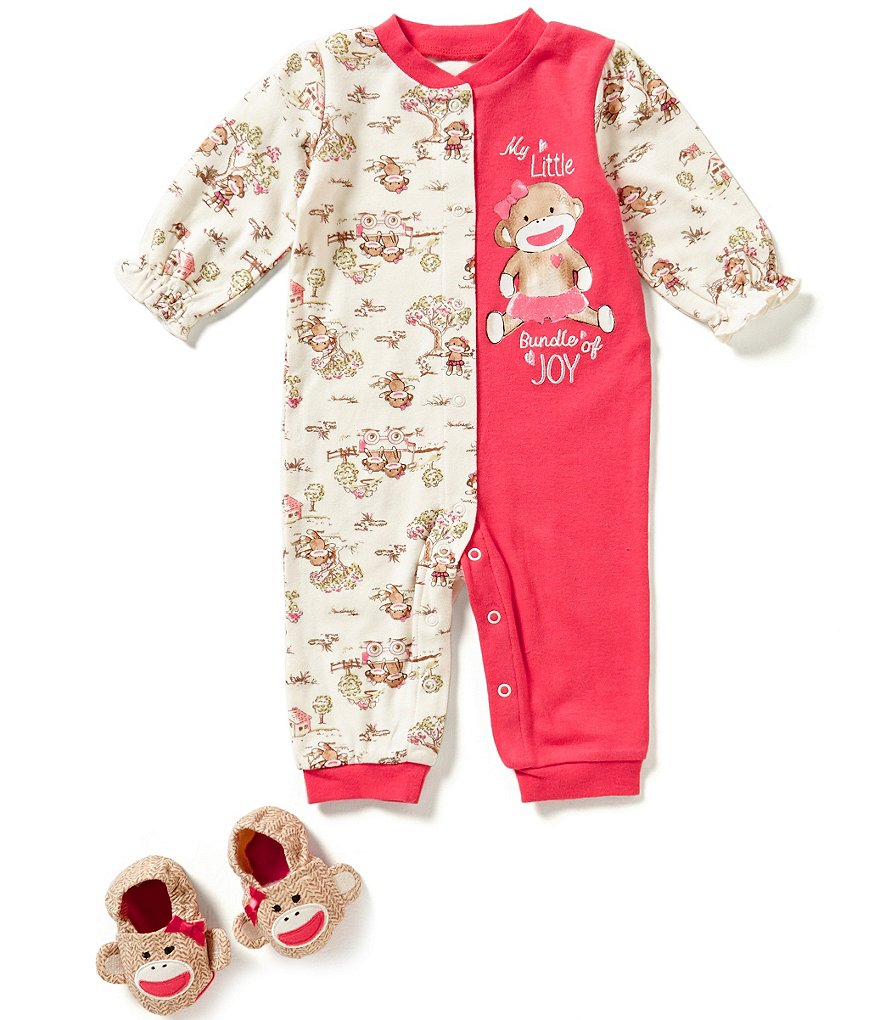 Baby Starters Little Girls 3-12 Months Sock Monkey Bundle of Joy Coverall & Booties Set