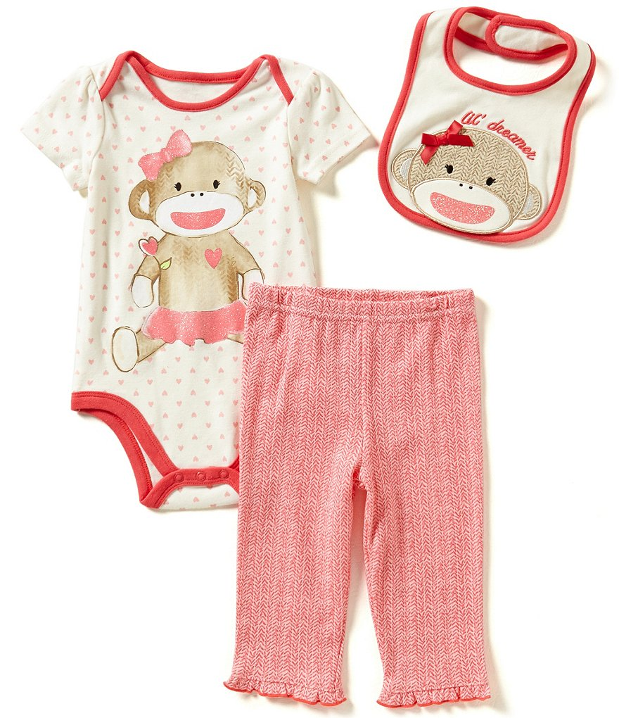 Baby Starters Baby Girls 3-12 Months Heart-Printed Bodysuit, Printed Pants and Sock Monkey Bib Set