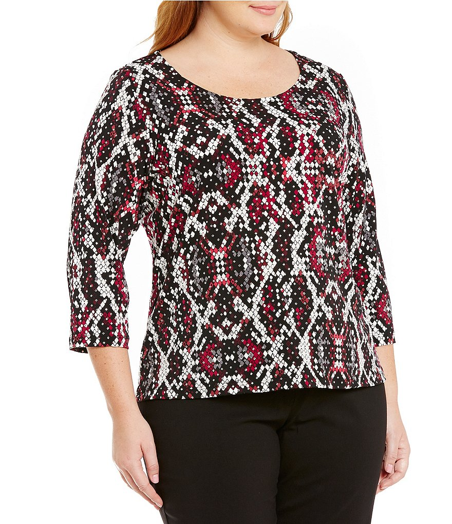 Ruby Rd. Plus Diamonds Dewdrop 3/4 Sleeve Embellished Knit Top