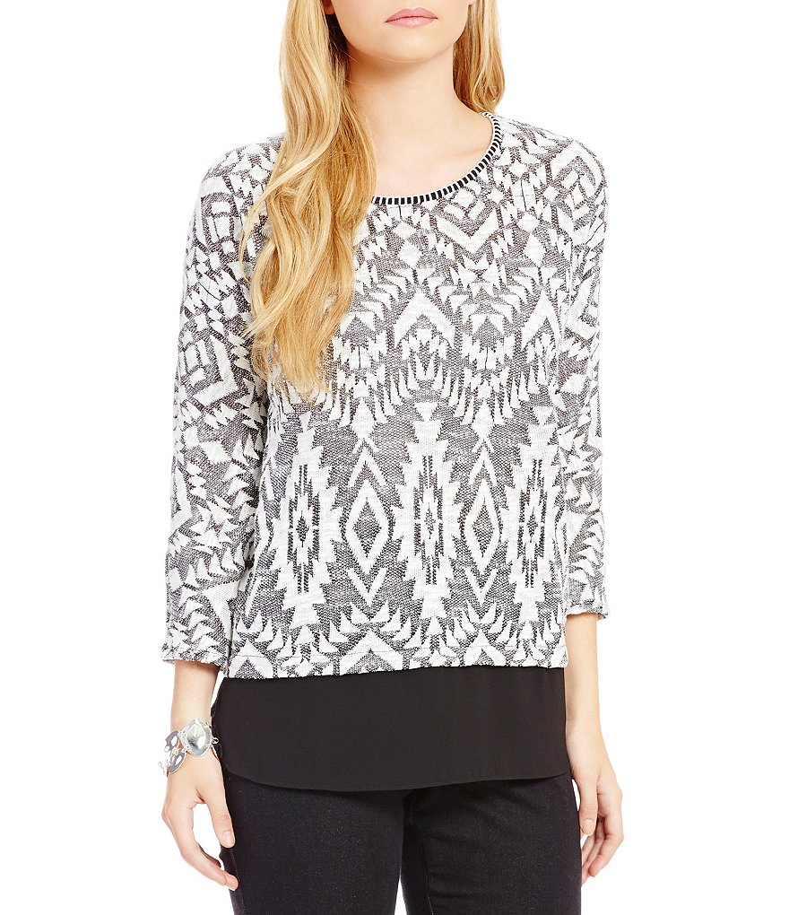 Ruby Rd. 3/4 Sleeve Printed French Terry Top