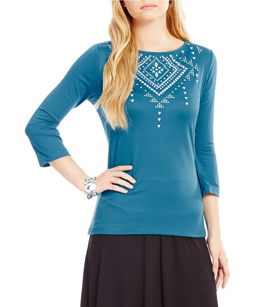 Ruby Rd. 3/4 Sleeve Solid Embellished Boat-Neck Knit Top