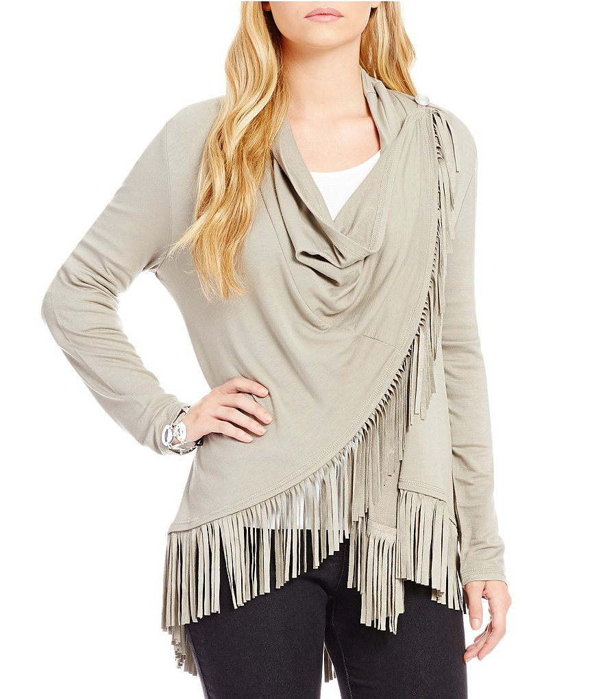 Ruby Rd. High-Low Stretch Suede Fringe Hem Jacket