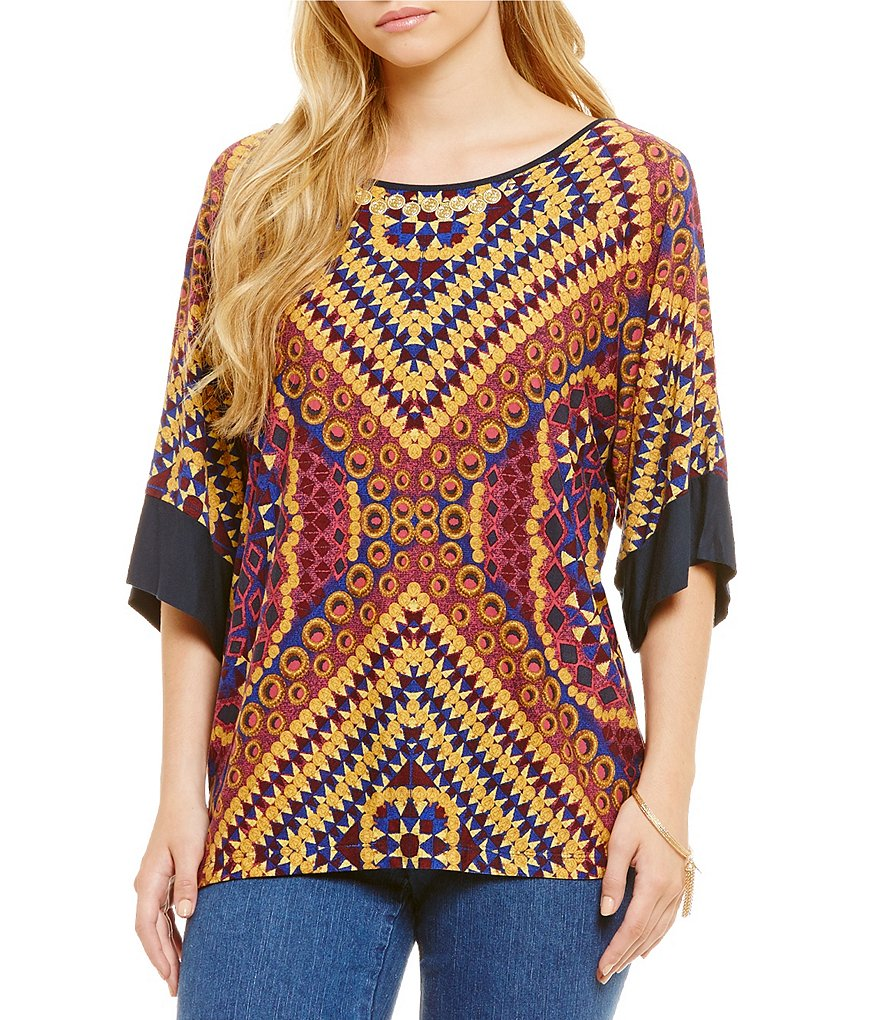 Ruby Rd. Embellished Scoop Neck with Solid 3/4 Sleeve Bands Printed Top