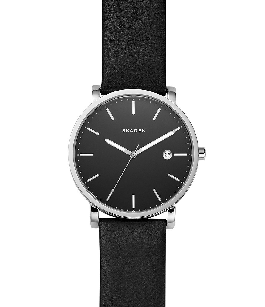 Skagen Hagen Stainless Steel & Black Leather 3-Hand Analog Watch with Date