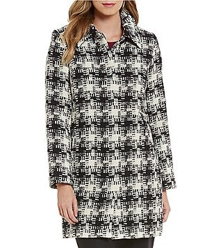 Pendleton Doreen Spread Collar Check Plaid Jacquard Wool Coat