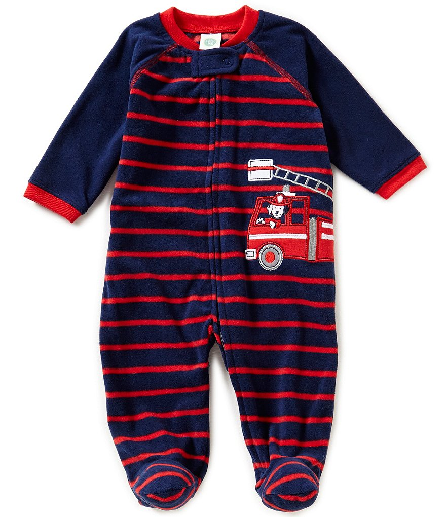 Little Me Baby Boys 3-9 Months Firetruck Applique Striped Coverall