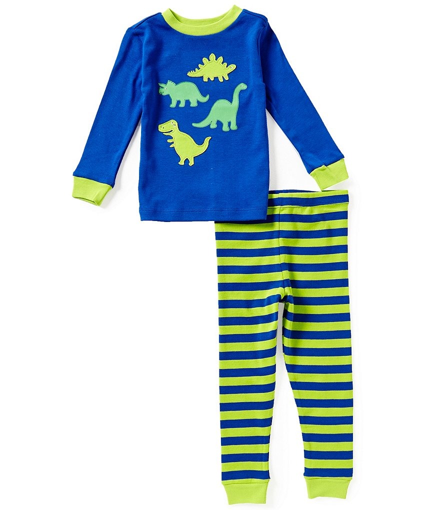 Little Me Baby Boys 12-24 Months 2-Piece Dinosaur Striped Pajama Set