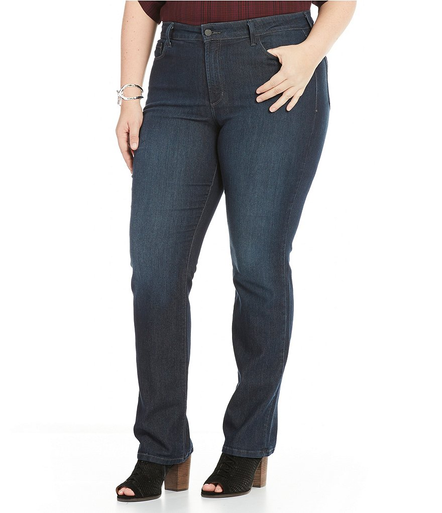 NYDJ Plus Marilyn Straight Leg Embellished Back-Pocket Jeans