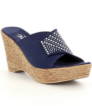 Onex Kaelyn Fabric Rhinestoned Slip On Banded Wedge Sandals