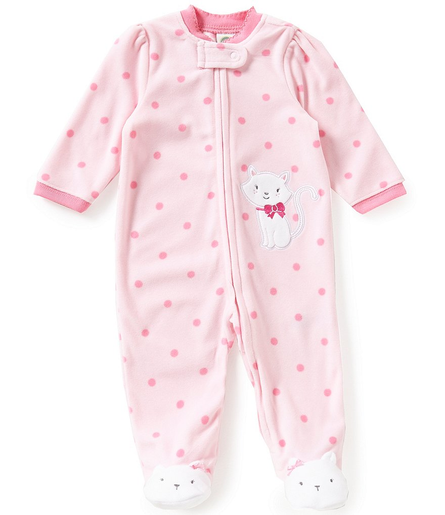 Little Me Baby Girls 3-9 Months Kitty-Appliqued Dotted Footed Coverall