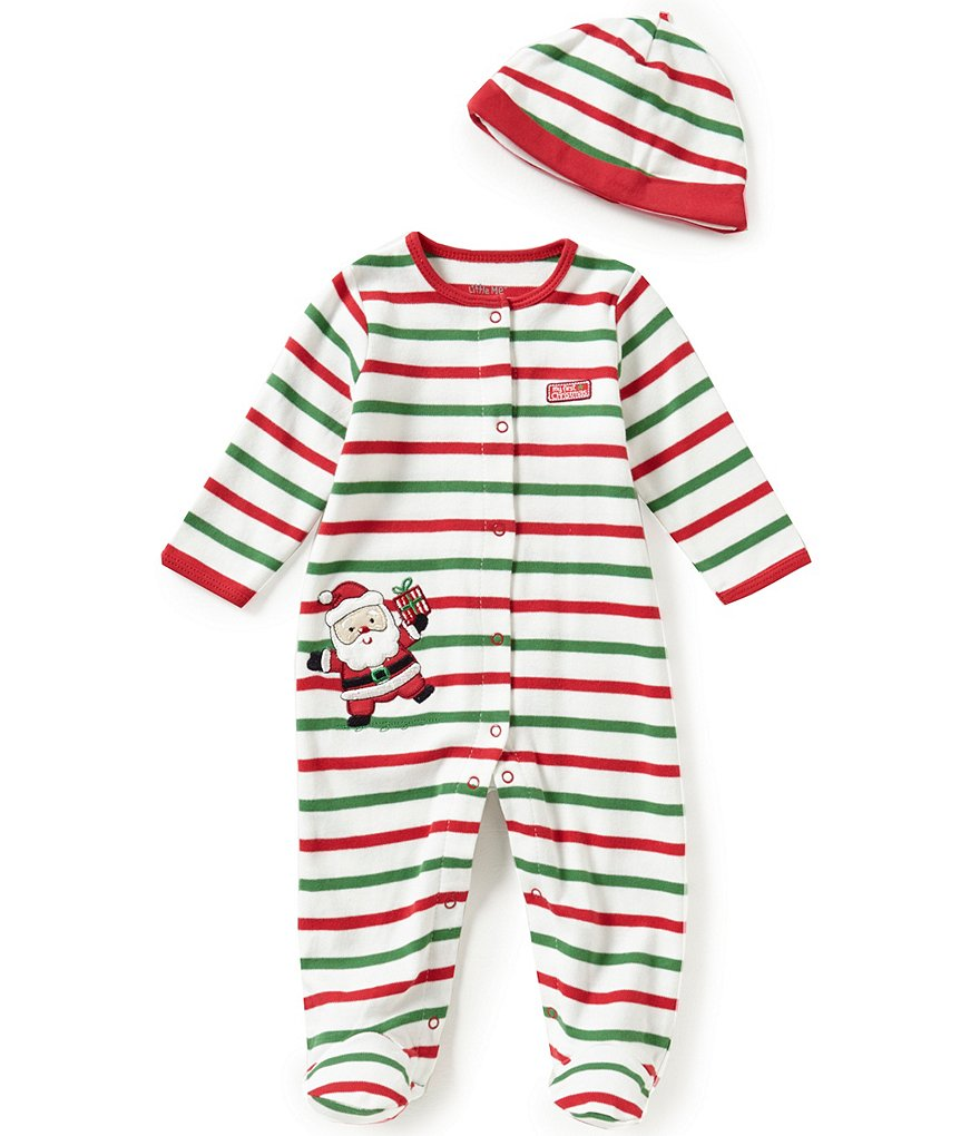 Little Me Baby Boys Newborn-9 Months My First Christmas Santa-Appliquéd Footed Coverall