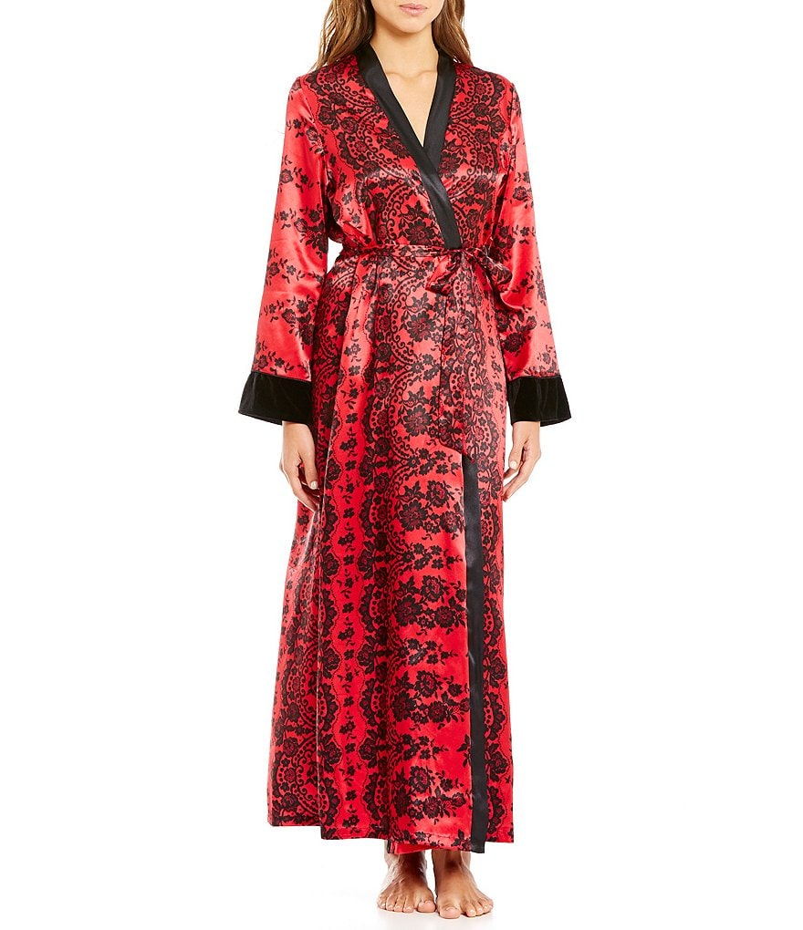 In Bloom by Jonquil Floral Lace-Print Satin Wrap Robe