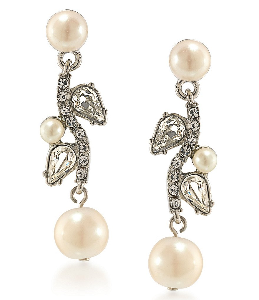 Carolee Washington Square Pearl Linear Earrings