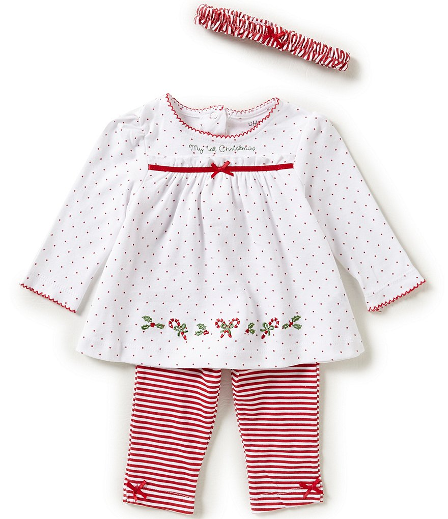 Little Me Baby Girls 3-12 Months My First Christmas Dotted Tunic and Striped Leggings Set