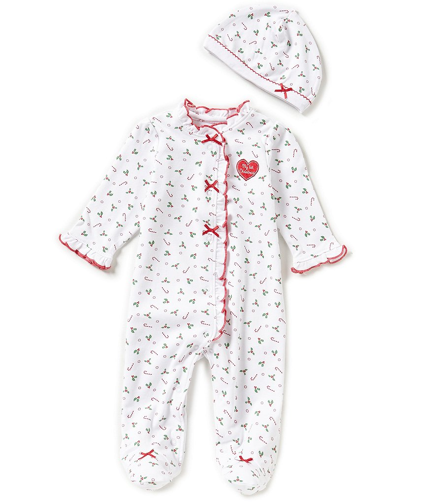 Little Me Baby Girls Newborn-9 Months My First Christmas Candy Christmas Footed Coverall