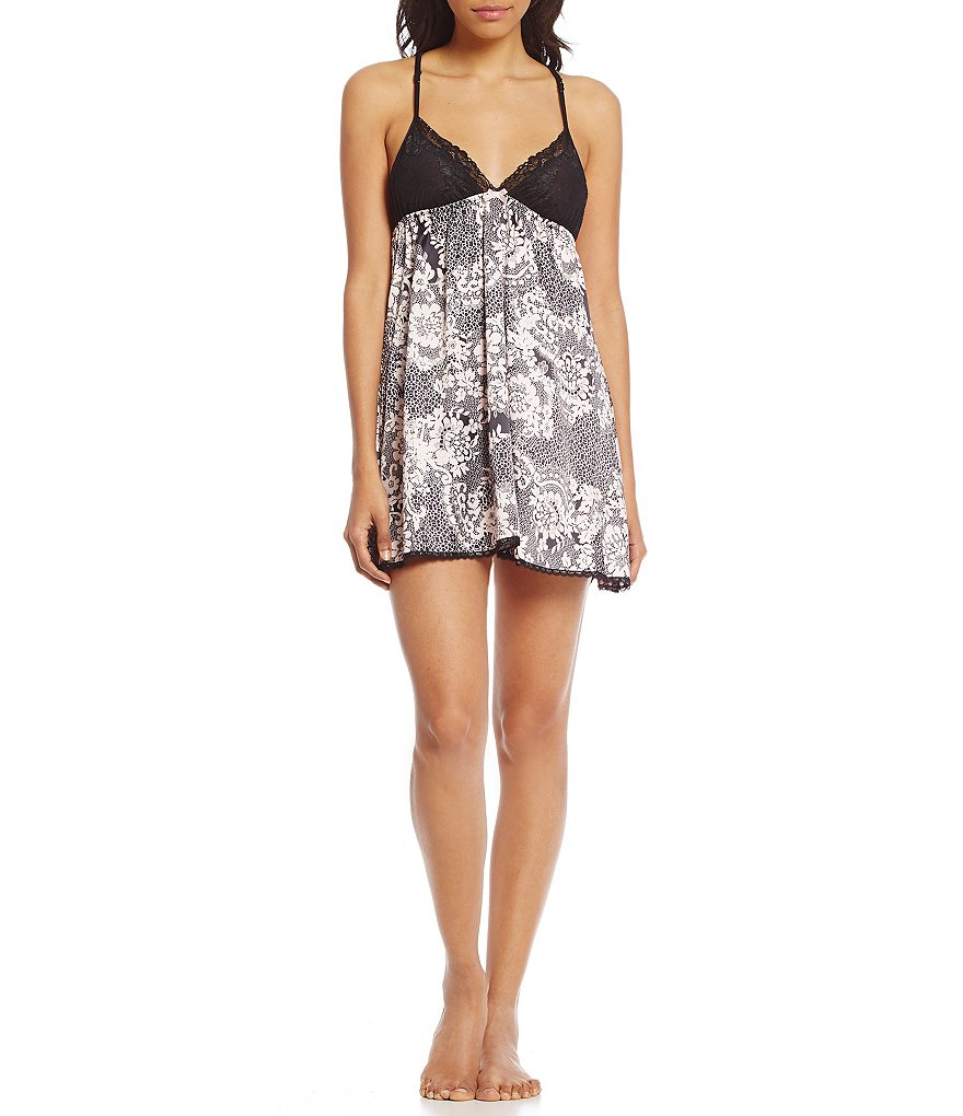 In Bloom by Jonquil Lace-Print Satin Chemise