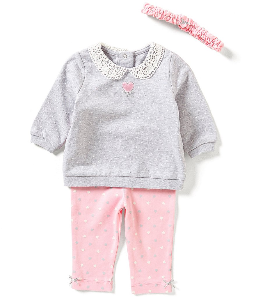 Little Me Baby Girls 3-12 Months Lace-Detailed Top and Heart-Printed Leggings Set