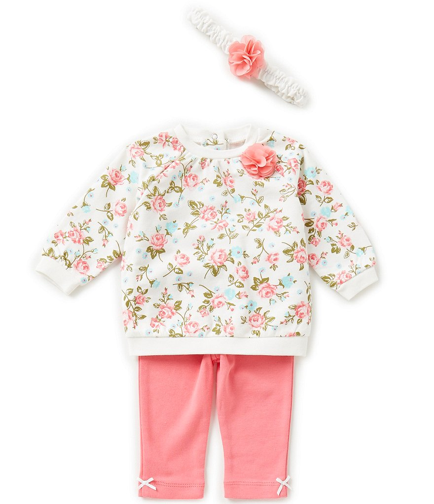 Little Me Baby Girls 3-12 Months Rose Printed Top and Solid Leggings Set
