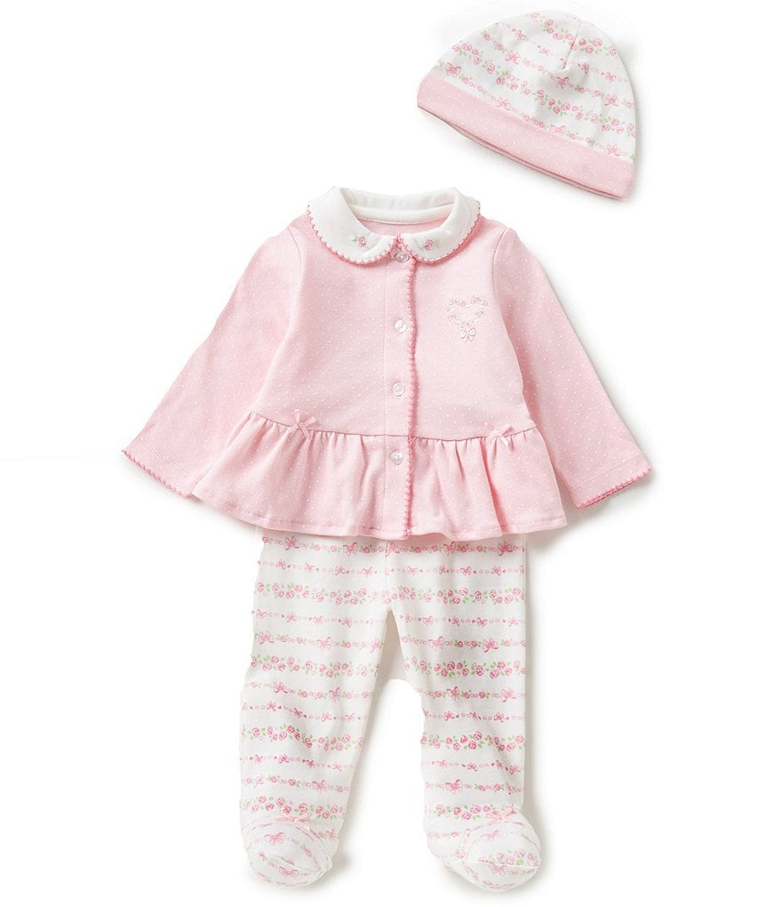 Little Me Baby Girls Newborn-9 Months 3-Piece Ribbon Roses Layette Set
