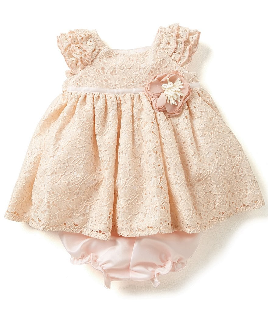 Laura Ashley London Baby Girls Newborn-24 Months Ruffled-Cap-Sleeve Lace Dress
