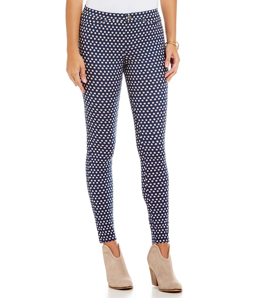 HUE Peacock Polka Dot Denim Leggings