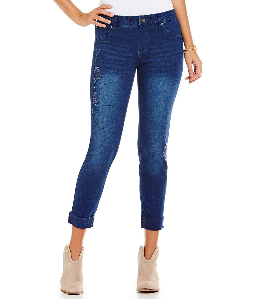 HUE Relaxed Distressed Denim Leggings