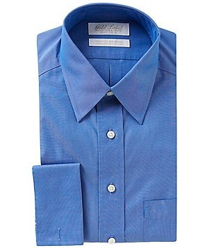 Gold Label Roundtree & Yorke Non-Iron Fitted Classic-Fit Point-Collar Dress Shirt with French Cuffs