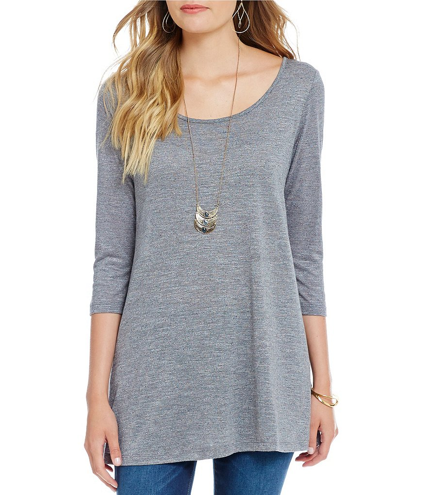 Soulmates 3/4 Sleeve Scoop Neck Heathered Knit Necklace Top