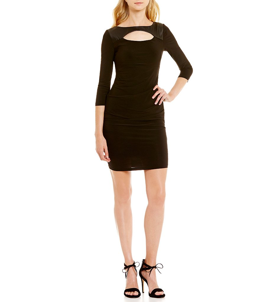 Laundry by Shelli Segal Fitted 3/4 Sleeve Cut Out Dress