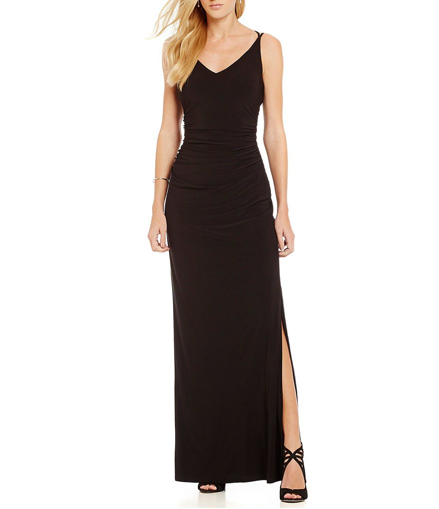 Laundry by Shelli Segal Open Back V-Neck Sleeveless Gown