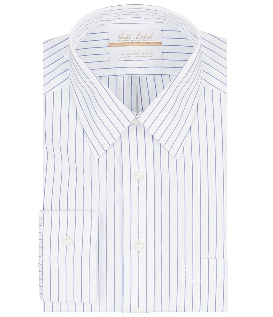 Gold Label Roundtree & Yorke Striped Non-Iron Regular Full-Fit Point-Collar Dress Shirt
